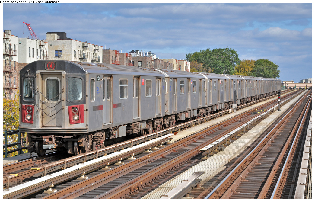 (445k, 1044x669)<br><b>Country:</b> United States<br><b>City:</b> New York<br><b>System:</b> New York City Transit<br><b>Line:</b> IRT Woodlawn Line<br><b>Location:</b> Mosholu Parkway <br><b>Route:</b> 4<br><b>Car:</b> R-142 (Option Order, Bombardier, 2002-2003)  1136 <br><b>Photo by:</b> Zach Summer<br><b>Date:</b> 10/23/2011<br><b>Viewed (this week/total):</b> 6 / 1381