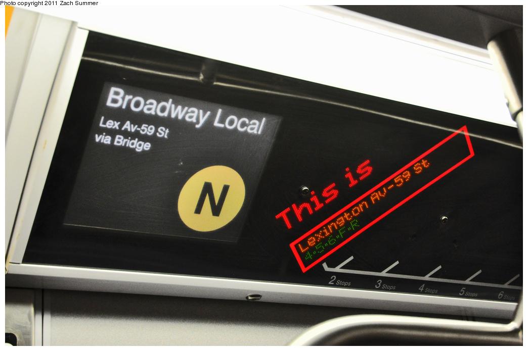 (251k, 1044x695)<br><b>Country:</b> United States<br><b>City:</b> New York<br><b>System:</b> New York City Transit<br><b>Route:</b> N<br><b>Car:</b> R-160B (Kawasaki, 2005-2008)  8913 <br><b>Photo by:</b> Zach Summer<br><b>Date:</b> 10/23/2011<br><b>Notes:</b> R160 (N) F.I.N.D. displaying Lexington Av / 59 St as the last stop<br><b>Viewed (this week/total):</b> 0 / 645
