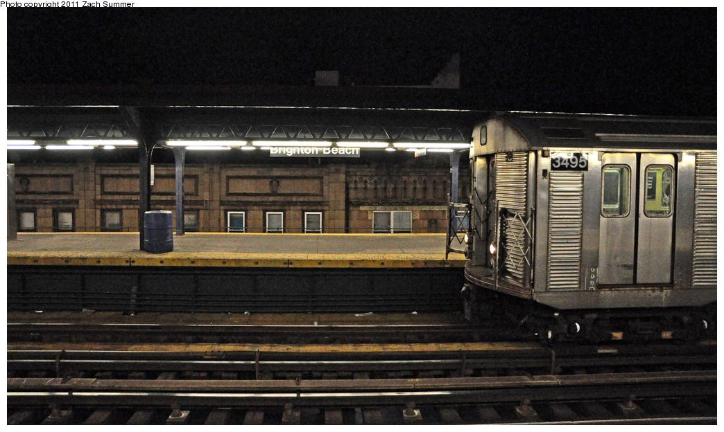 (346k, 1044x624)<br><b>Country:</b> United States<br><b>City:</b> New York<br><b>System:</b> New York City Transit<br><b>Line:</b> BMT Brighton Line<br><b>Location:</b> Brighton Beach <br><b>Route:</b> Work Service<br><b>Car:</b> R-32 (Budd, 1964)  3495 <br><b>Photo by:</b> Zach Summer<br><b>Date:</b> 10/23/2011<br><b>Viewed (this week/total):</b> 0 / 921