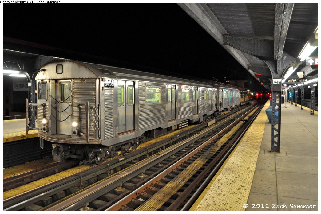 (388k, 1044x697)<br><b>Country:</b> United States<br><b>City:</b> New York<br><b>System:</b> New York City Transit<br><b>Line:</b> BMT Brighton Line<br><b>Location:</b> Brighton Beach <br><b>Route:</b> Work Service<br><b>Car:</b> R-32 (Budd, 1964)  3495 <br><b>Photo by:</b> Zach Summer<br><b>Date:</b> 10/23/2011<br><b>Viewed (this week/total):</b> 1 / 1368