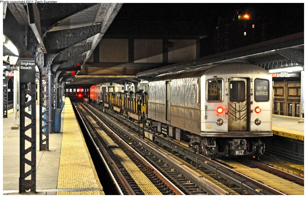 (440k, 1044x675)<br><b>Country:</b> United States<br><b>City:</b> New York<br><b>System:</b> New York City Transit<br><b>Line:</b> BMT Brighton Line<br><b>Location:</b> Brighton Beach <br><b>Route:</b> Work Service<br><b>Car:</b> R-127/R-134 (Kawasaki, 1991-1996) EP010 <br><b>Photo by:</b> Zach Summer<br><b>Date:</b> 10/23/2011<br><b>Viewed (this week/total):</b> 1 / 1311