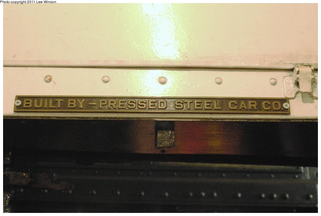 (220k, 1044x703)<br><b>Country:</b> United States<br><b>City:</b> New York<br><b>System:</b> New York City Transit<br><b>Route:</b> Fan Trip<br><b>Car:</b> R-6-1 (Pressed Steel, 1936)  1300 <br><b>Photo by:</b> Lee Winson<br><b>Date:</b> 11/26/2011<br><b>Notes:</b> Builders plate.<br><b>Viewed (this week/total):</b> 0 / 779