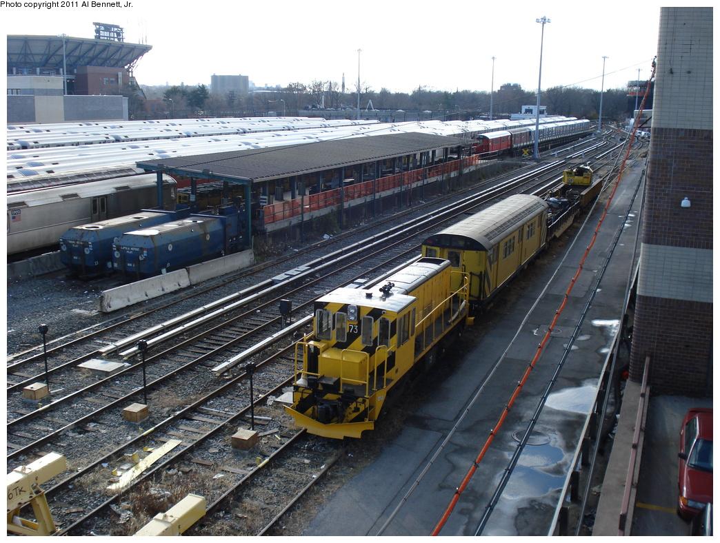 (413k, 1044x788)<br><b>Country:</b> United States<br><b>City:</b> New York<br><b>System:</b> New York City Transit<br><b>Location:</b> Corona Yard<br><b>Car:</b> R-52 Locomotive  73 <br><b>Photo by:</b> Al Bennett, Jr.<br><b>Date:</b> 12/1/2008<br><b>Viewed (this week/total):</b> 1 / 537