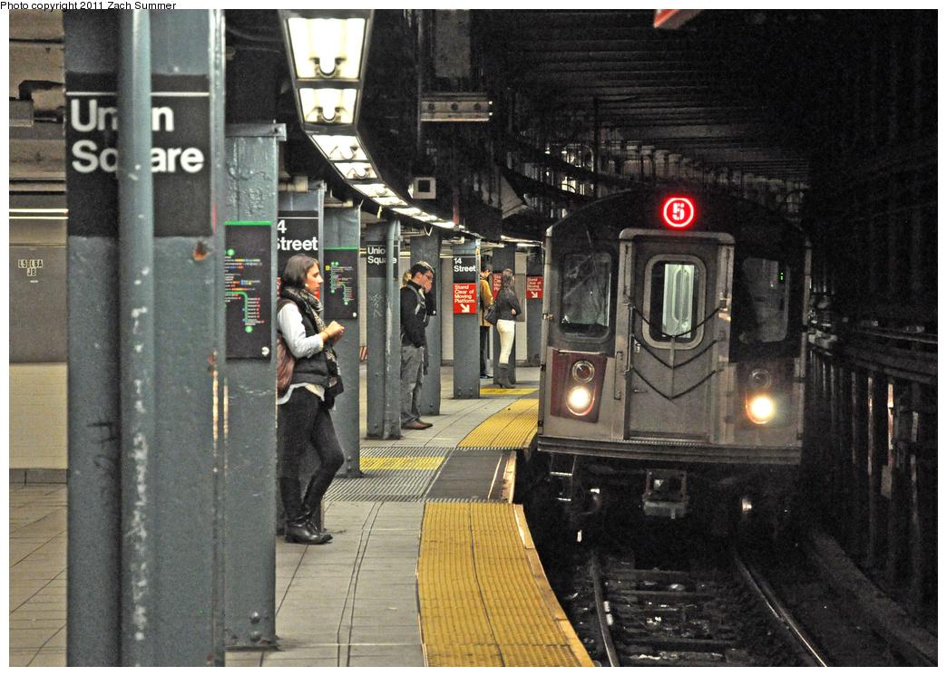 (428k, 1044x746)<br><b>Country:</b> United States<br><b>City:</b> New York<br><b>System:</b> New York City Transit<br><b>Line:</b> IRT East Side Line<br><b>Location:</b> 14th Street/Union Square <br><b>Route:</b> 5<br><b>Car:</b> R-142 (Primary Order, Bombardier, 1999-2002)  6951 <br><b>Photo by:</b> Zach Summer<br><b>Date:</b> 10/27/2011<br><b>Viewed (this week/total):</b> 0 / 1903