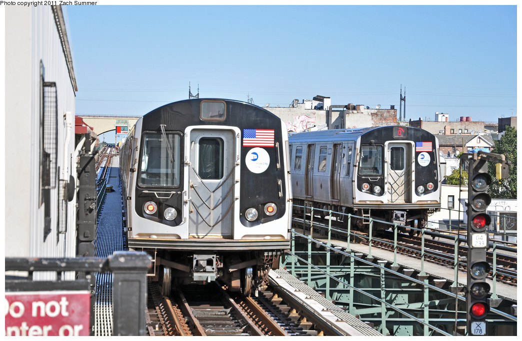 (378k, 1044x683)<br><b>Country:</b> United States<br><b>City:</b> New York<br><b>System:</b> New York City Transit<br><b>Line:</b> BMT Astoria Line<br><b>Location:</b> Astoria Boulevard/Hoyt Avenue <br><b>Route:</b> Q<br><b>Car:</b> R-160B (Kawasaki, 2005-2008)  8808 <br><b>Photo by:</b> Zach Summer<br><b>Date:</b> 10/30/2011<br><b>Viewed (this week/total):</b> 0 / 1332