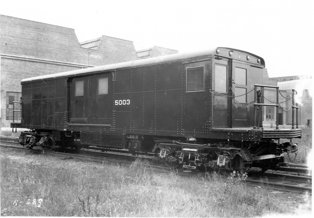 (235k, 1024x710)<br><b>Country:</b> United States<br><b>City:</b> New York<br><b>System:</b> New York City Transit<br><b>Location:</b> Coney Island Yard<br><b>Car:</b> BMT Signal Supply Car (Diff. Car Co., 1927)  5003 <br><b>Photo by:</b> Ed Watson/Arthur Lonto Collection<br><b>Collection of:</b> Frank Pfuhler<br><b>Date:</b> 1930<br><b>Viewed (this week/total):</b> 1 / 832