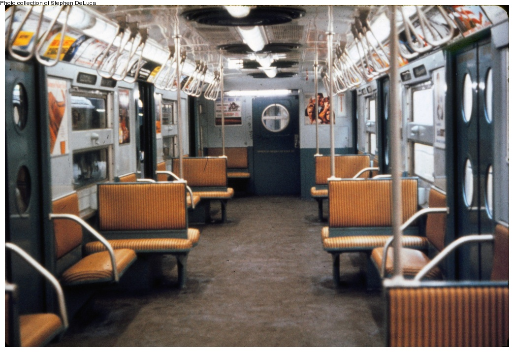 (252k, 1044x715)<br><b>Country:</b> United States<br><b>City:</b> New York<br><b>System:</b> New York City Transit<br><b>Route:</b> Franklin Shuttle<br><b>Car:</b> R-11 (Budd, 1949) Interior <br><b>Photo by:</b> A.W. Koster<br><b>Collection of:</b> Stephen DeLuca<br><b>Viewed (this week/total):</b> 1 / 1694