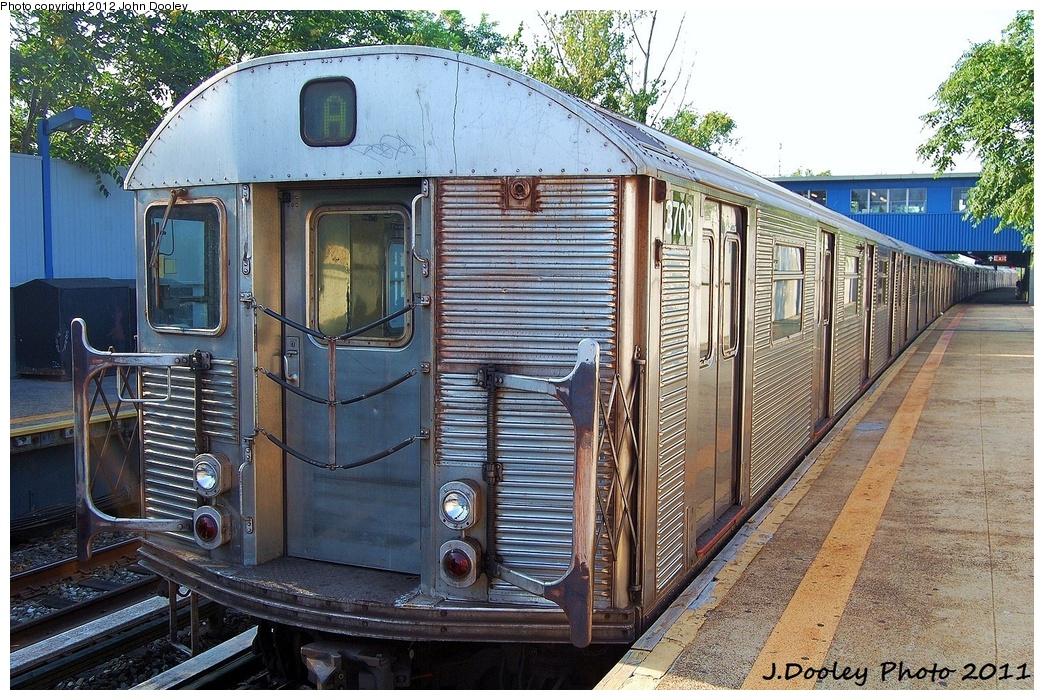 (435k, 1044x700)<br><b>Country:</b> United States<br><b>City:</b> New York<br><b>System:</b> New York City Transit<br><b>Line:</b> IND Rockaway<br><b>Location:</b> Broad Channel <br><b>Route:</b> A<br><b>Car:</b> R-32 (Budd, 1964)  3708 <br><b>Photo by:</b> John Dooley<br><b>Date:</b> 8/20/2011<br><b>Viewed (this week/total):</b> 1 / 1182