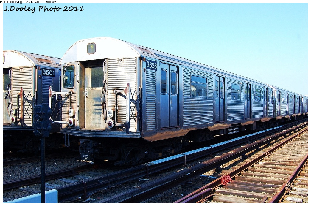(382k, 1044x694)<br><b>Country:</b> United States<br><b>City:</b> New York<br><b>System:</b> New York City Transit<br><b>Location:</b> Rockaway Park Yard<br><b>Car:</b> R-32 (Budd, 1964)  3828 <br><b>Photo by:</b> John Dooley<br><b>Date:</b> 8/20/2011<br><b>Viewed (this week/total):</b> 0 / 702