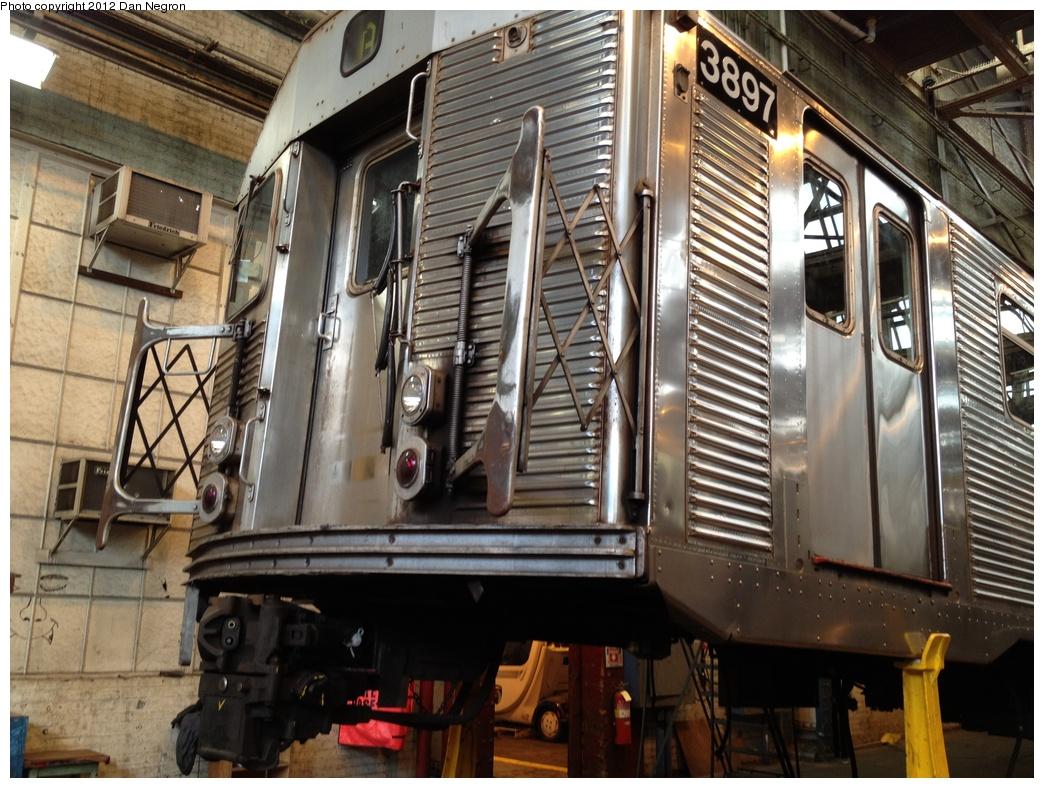 (349k, 1044x788)<br><b>Country:</b> United States<br><b>City:</b> New York<br><b>System:</b> New York City Transit<br><b>Location:</b> 207th Street Shop<br><b>Car:</b> R-32 (Budd, 1964)  3897 <br><b>Photo by:</b> Daniel Negron<br><b>Date:</b> 11/3/2011<br><b>Viewed (this week/total):</b> 3 / 640