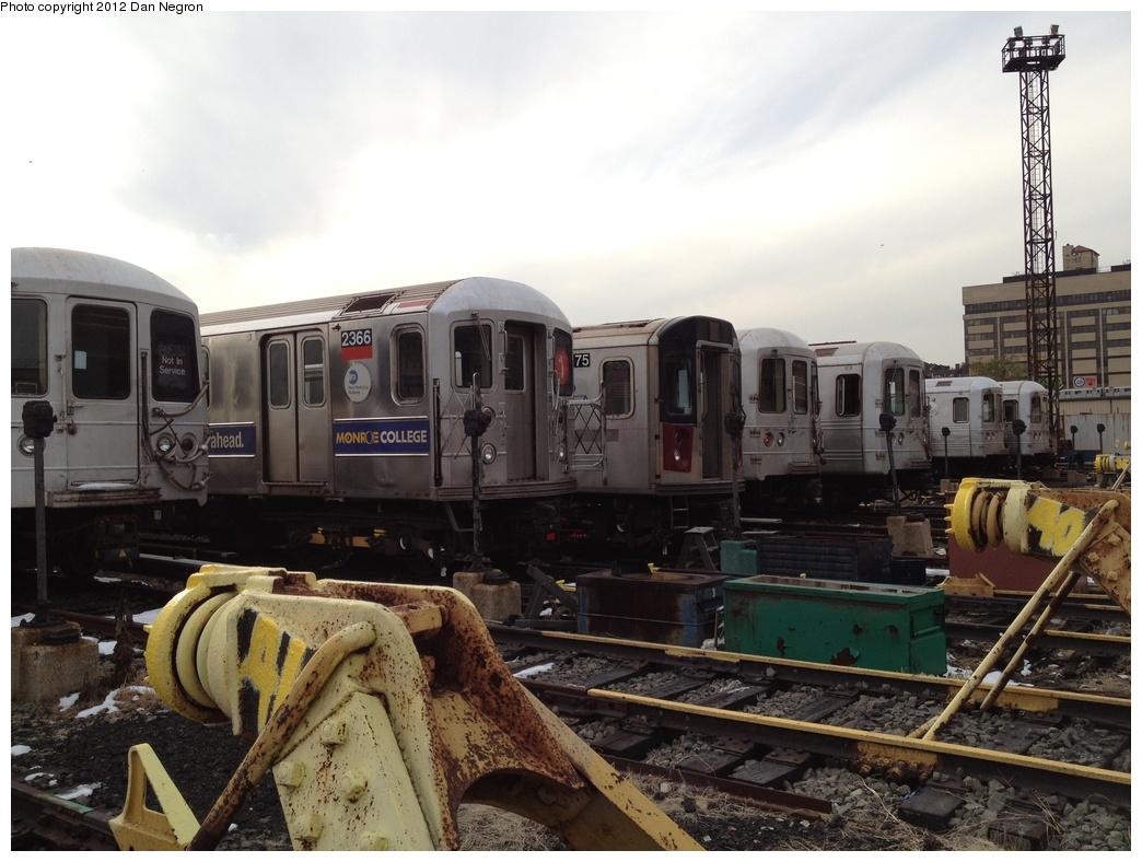 (285k, 1044x788)<br><b>Country:</b> United States<br><b>City:</b> New York<br><b>System:</b> New York City Transit<br><b>Location:</b> 207th Street Yard<br><b>Car:</b> R-62A (Bombardier, 1984-1987)  2366 <br><b>Photo by:</b> Daniel Negron<br><b>Date:</b> 10/31/2011<br><b>Viewed (this week/total):</b> 3 / 837