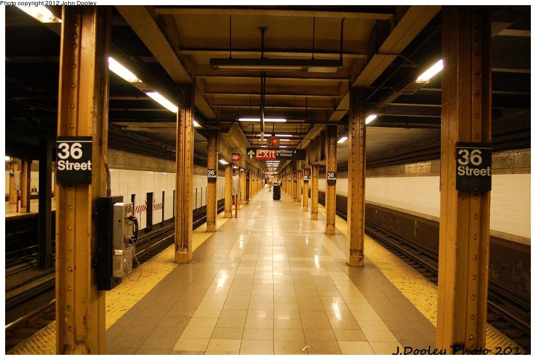 (324k, 1044x701)<br><b>Country:</b> United States<br><b>City:</b> New York<br><b>System:</b> New York City Transit<br><b>Line:</b> BMT 4th Avenue<br><b>Location:</b> 36th Street <br><b>Photo by:</b> John Dooley<br><b>Date:</b> 7/8/2011<br><b>Viewed (this week/total):</b> 4 / 1484