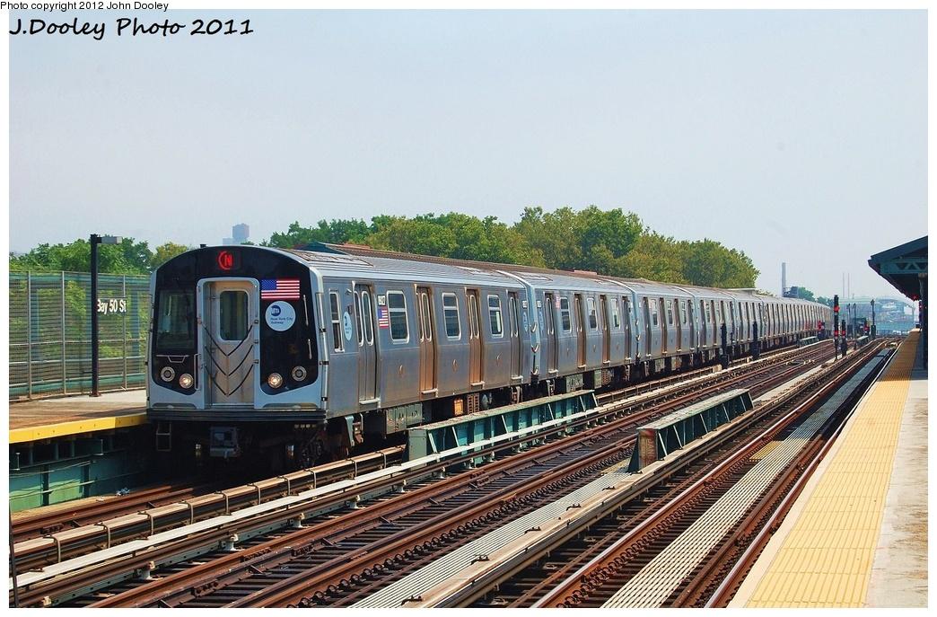 (359k, 1044x687)<br><b>Country:</b> United States<br><b>City:</b> New York<br><b>System:</b> New York City Transit<br><b>Line:</b> BMT West End Line<br><b>Location:</b> Bay 50th Street <br><b>Route:</b> N reroute<br><b>Car:</b> R-160B (Kawasaki, 2005-2008)  8927 <br><b>Photo by:</b> John Dooley<br><b>Date:</b> 7/20/2011<br><b>Viewed (this week/total):</b> 1 / 1063