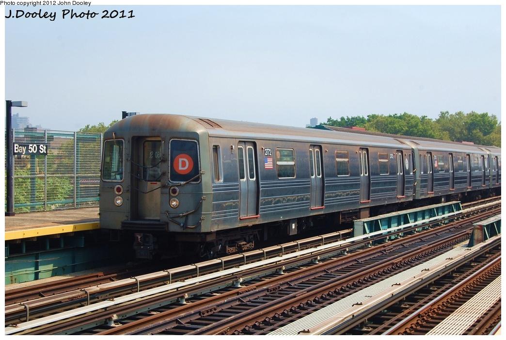 (336k, 1044x701)<br><b>Country:</b> United States<br><b>City:</b> New York<br><b>System:</b> New York City Transit<br><b>Line:</b> BMT West End Line<br><b>Location:</b> Bay 50th Street <br><b>Route:</b> D<br><b>Car:</b> R-68 (Westinghouse-Amrail, 1986-1988)  2772 <br><b>Photo by:</b> John Dooley<br><b>Date:</b> 7/20/2011<br><b>Viewed (this week/total):</b> 0 / 842
