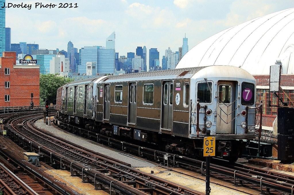 (445k, 1024x681)<br><b>Country:</b> United States<br><b>City:</b> New York<br><b>System:</b> New York City Transit<br><b>Line:</b> IRT Flushing Line<br><b>Location:</b> 33rd Street/Rawson Street <br><b>Route:</b> 7<br><b>Car:</b> R-62A (Bombardier, 1984-1987)  1990 <br><b>Photo by:</b> John Dooley<br><b>Date:</b> 6/27/2011<br><b>Viewed (this week/total):</b> 0 / 847