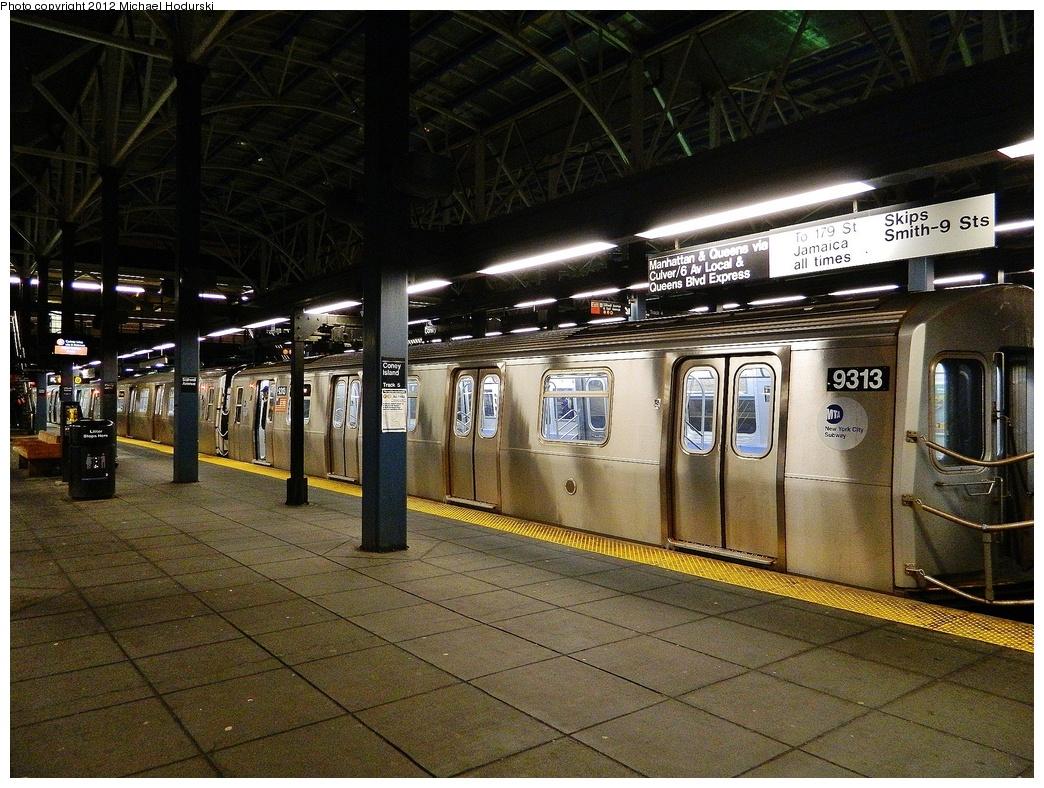 (426k, 1044x788)<br><b>Country:</b> United States<br><b>City:</b> New York<br><b>System:</b> New York City Transit<br><b>Location:</b> Coney Island/Stillwell Avenue<br><b>Route:</b> F<br><b>Car:</b> R-160A (Option 1) (Alstom, 2008-2009, 5 car sets)  9313 <br><b>Photo by:</b> Michael Hodurski<br><b>Date:</b> 1/12/2012<br><b>Viewed (this week/total):</b> 0 / 1224