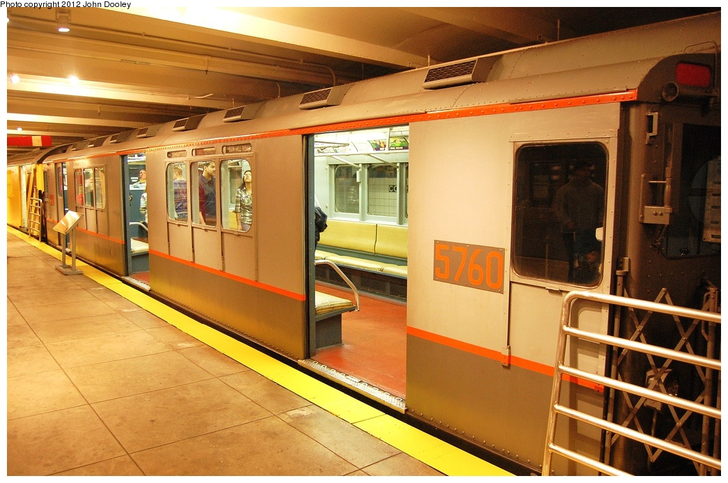 (346k, 1044x693)<br><b>Country:</b> United States<br><b>City:</b> New York<br><b>System:</b> New York City Transit<br><b>Location:</b> New York Transit Museum<br><b>Car:</b> R-12 (American Car & Foundry, 1948) 5760 <br><b>Photo by:</b> John Dooley<br><b>Date:</b> 10/2/2011<br><b>Viewed (this week/total):</b> 1 / 1077