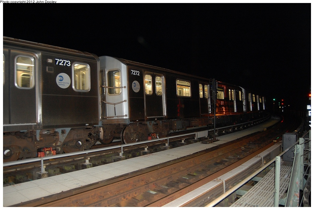 (306k, 1044x701)<br><b>Country:</b> United States<br><b>City:</b> New York<br><b>System:</b> New York City Transit<br><b>Line:</b> BMT Culver Line<br><b>Location:</b> Avenue X <br><b>Car:</b> R-142A (Primary Order, Kawasaki, 1999-2002)  7272 <br><b>Photo by:</b> John Dooley<br><b>Date:</b> 10/15/2011<br><b>Viewed (this week/total):</b> 0 / 1066