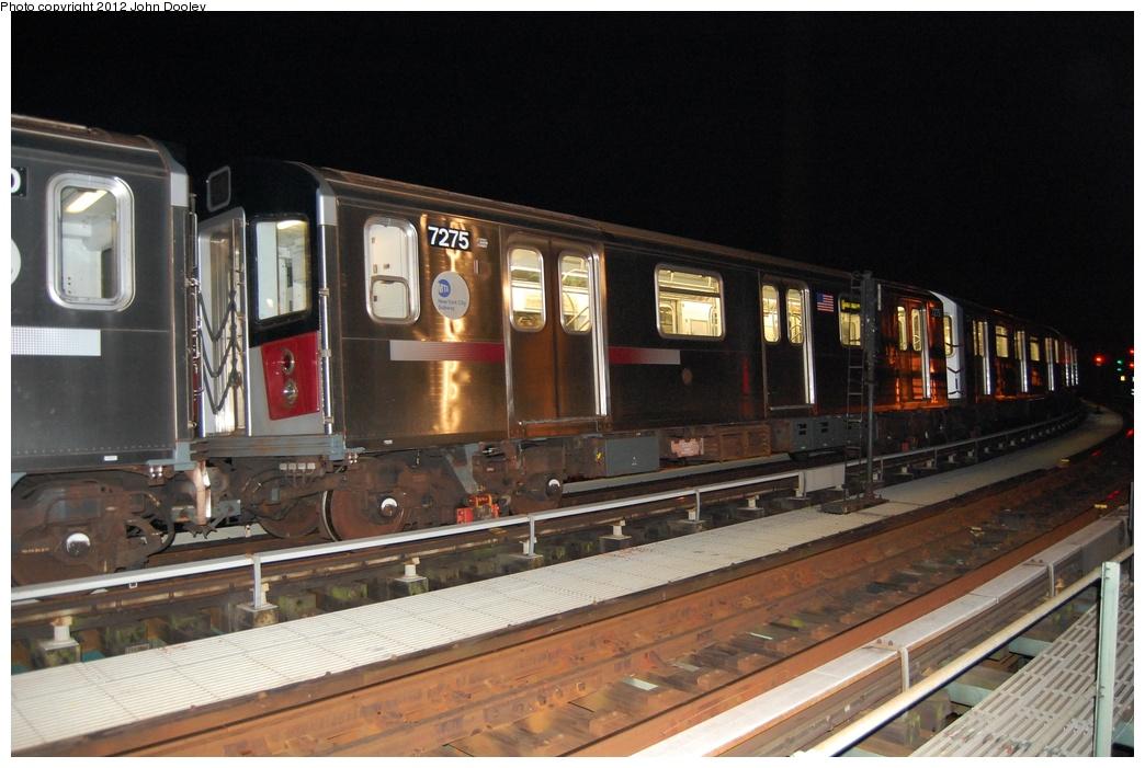 (286k, 1044x701)<br><b>Country:</b> United States<br><b>City:</b> New York<br><b>System:</b> New York City Transit<br><b>Line:</b> BMT Culver Line<br><b>Location:</b> Avenue X <br><b>Car:</b> R-142A (Primary Order, Kawasaki, 1999-2002)  7275 <br><b>Photo by:</b> John Dooley<br><b>Date:</b> 10/15/2011<br><b>Viewed (this week/total):</b> 1 / 1345