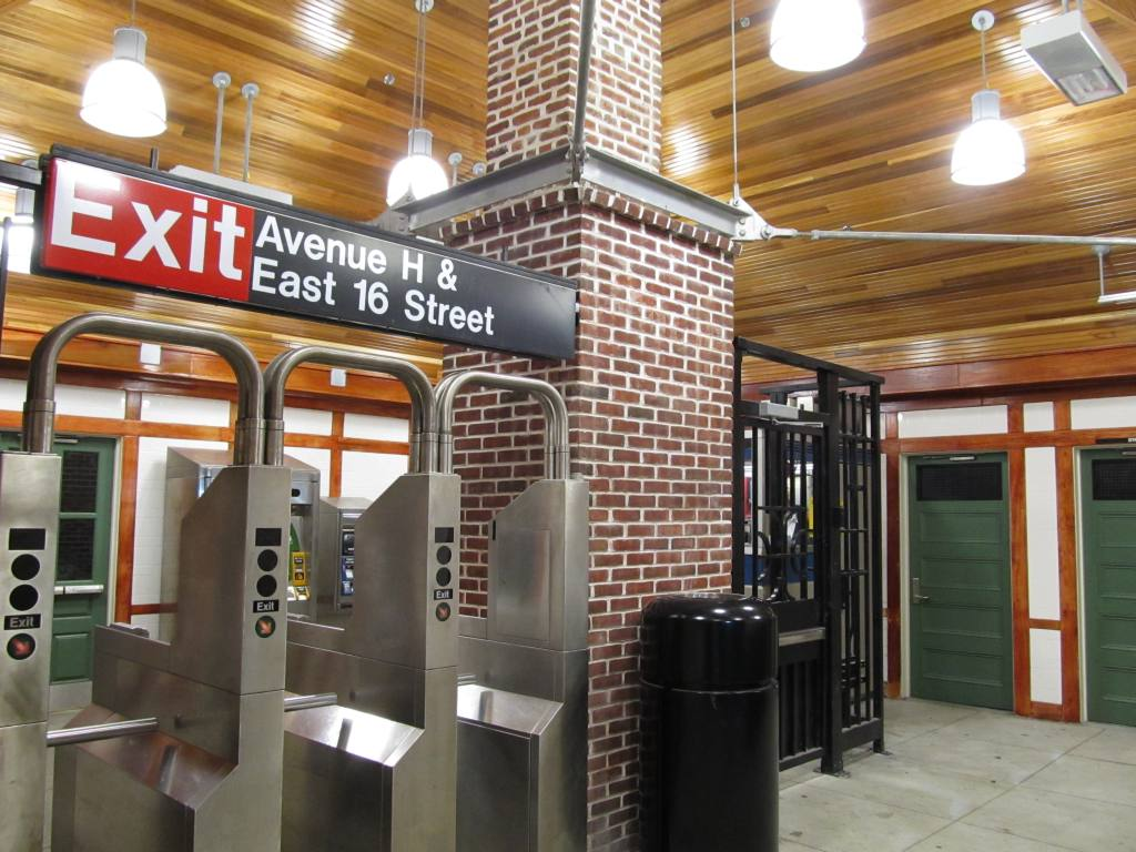 (131k, 1024x768)<br><b>Country:</b> United States<br><b>City:</b> New York<br><b>System:</b> New York City Transit<br><b>Line:</b> BMT Brighton Line<br><b>Location:</b> Avenue H <br><b>Photo by:</b> Robbie Rosenfeld<br><b>Date:</b> 1/18/2012<br><b>Notes:</b> Renovated station house - interior.<br><b>Viewed (this week/total):</b> 0 / 1083