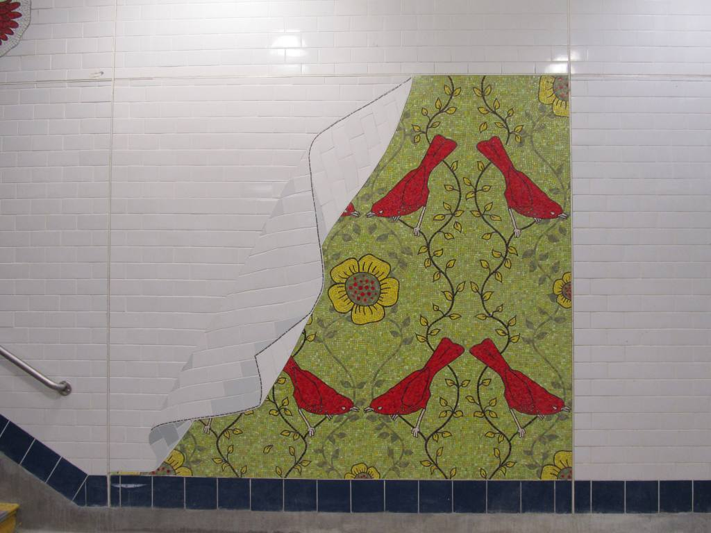 (97k, 1024x768)<br><b>Country:</b> United States<br><b>City:</b> New York<br><b>System:</b> New York City Transit<br><b>Line:</b> BMT Brighton Line<br><b>Location:</b> Avenue J <br><b>Photo by:</b> Robbie Rosenfeld<br><b>Date:</b> 1/18/2012<br><b>Artwork:</b> <i>Bird Laid Bare</i>, Rita MacDonald (2011).<br><b>Viewed (this week/total):</b> 0 / 1155