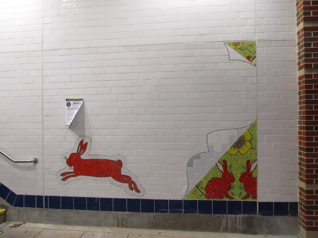 (87k, 1024x768)<br><b>Country:</b> United States<br><b>City:</b> New York<br><b>System:</b> New York City Transit<br><b>Line:</b> BMT Brighton Line<br><b>Location:</b> Avenue M <br><b>Photo by:</b> Robbie Rosenfeld<br><b>Date:</b> 1/18/2012<br><b>Artwork:</b> <i>Hare Apparent</i>, Rita MacDonald (2011).<br><b>Viewed (this week/total):</b> 5 / 1262