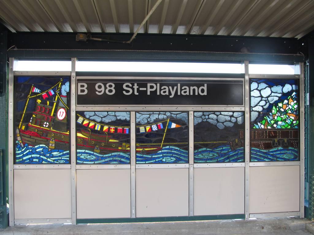 (127k, 1024x768)<br><b>Country:</b> United States<br><b>City:</b> New York<br><b>System:</b> New York City Transit<br><b>Line:</b> IND Rockaway<br><b>Location:</b> Beach 98th Street/Playland <br><b>Photo by:</b> Robbie Rosenfeld<br><b>Date:</b> 1/16/2012<br><b>Artwork:</b> <i>Be Good or Be Gone</i>, Duke Riley (2011).<br><b>Viewed (this week/total):</b> 1 / 1248