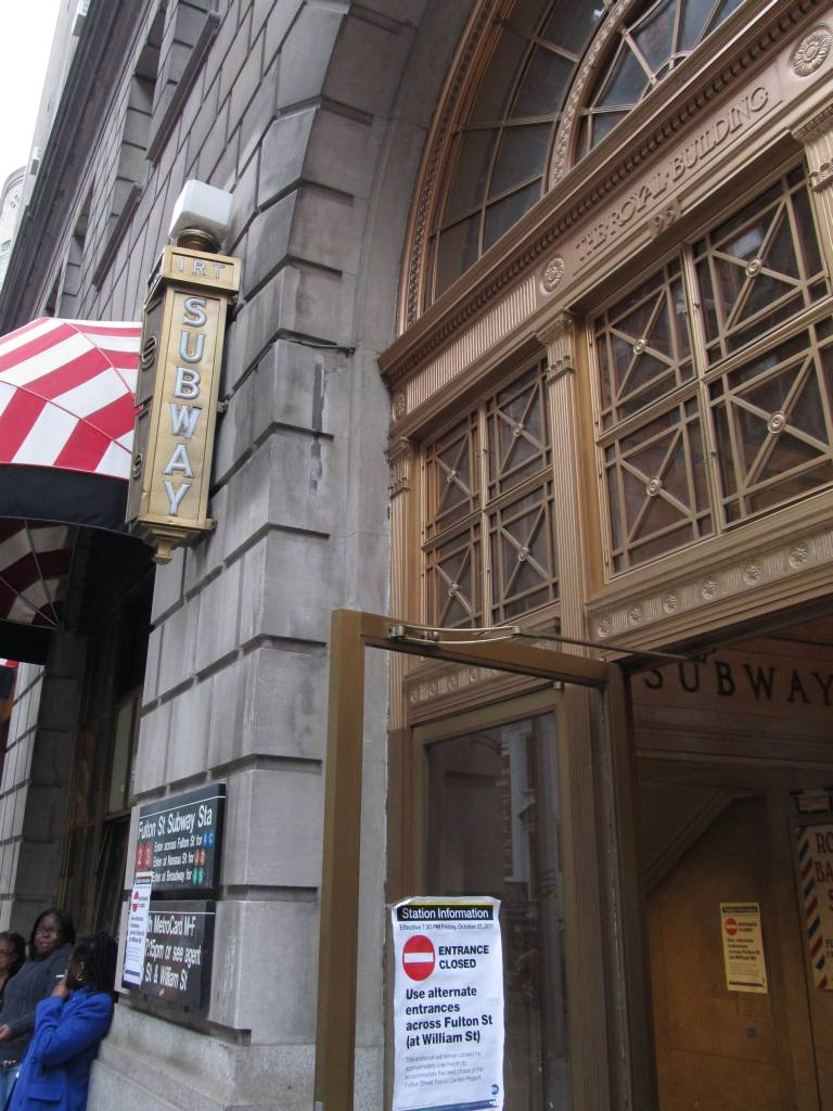 (128k, 768x1024)<br><b>Country:</b> United States<br><b>City:</b> New York<br><b>System:</b> New York City Transit<br><b>Line:</b> IRT East Side Line<br><b>Location:</b> Fulton Street <br><b>Photo by:</b> Robbie Rosenfeld<br><b>Date:</b> 11/14/2011<br><b>Viewed (this week/total):</b> 0 / 1524