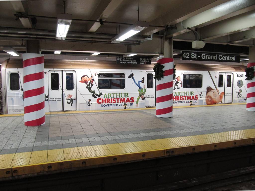 (114k, 1024x768)<br><b>Country:</b> United States<br><b>City:</b> New York<br><b>System:</b> New York City Transit<br><b>Line:</b> IRT Times Square-Grand Central Shuttle<br><b>Location:</b> Grand Central <br><b>Route:</b> S<br><b>Car:</b> R-62A (Bombardier, 1984-1987)  1935 <br><b>Photo by:</b> Robbie Rosenfeld<br><b>Date:</b> 11/14/2011<br><b>Notes:</b> Arthur Christmas movie wrap.<br><b>Viewed (this week/total):</b> 0 / 821