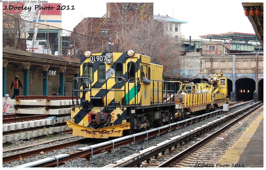 (467k, 1044x668)<br><b>Country:</b> United States<br><b>City:</b> New York<br><b>System:</b> New York City Transit<br><b>Line:</b> BMT Sea Beach Line<br><b>Location:</b> New Utrecht Avenue <br><b>Route:</b> Work Service<br><b>Car:</b> R-120 Locomotive  907 <br><b>Photo by:</b> John Dooley<br><b>Date:</b> 11/27/2011<br><b>Viewed (this week/total):</b> 0 / 666
