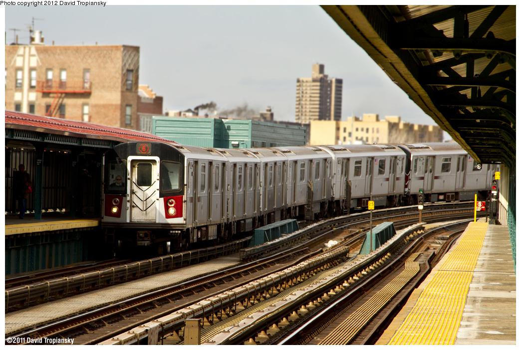 (472k, 1044x702)<br><b>Country:</b> United States<br><b>City:</b> New York<br><b>System:</b> New York City Transit<br><b>Line:</b> IRT Pelham Line<br><b>Location:</b> Whitlock Avenue <br><b>Route:</b> 6<br><b>Car:</b> R-142A (Primary Order, Kawasaki, 1999-2002)  7425 <br><b>Photo by:</b> David Tropiansky<br><b>Date:</b> 2/6/2012<br><b>Viewed (this week/total):</b> 0 / 1020