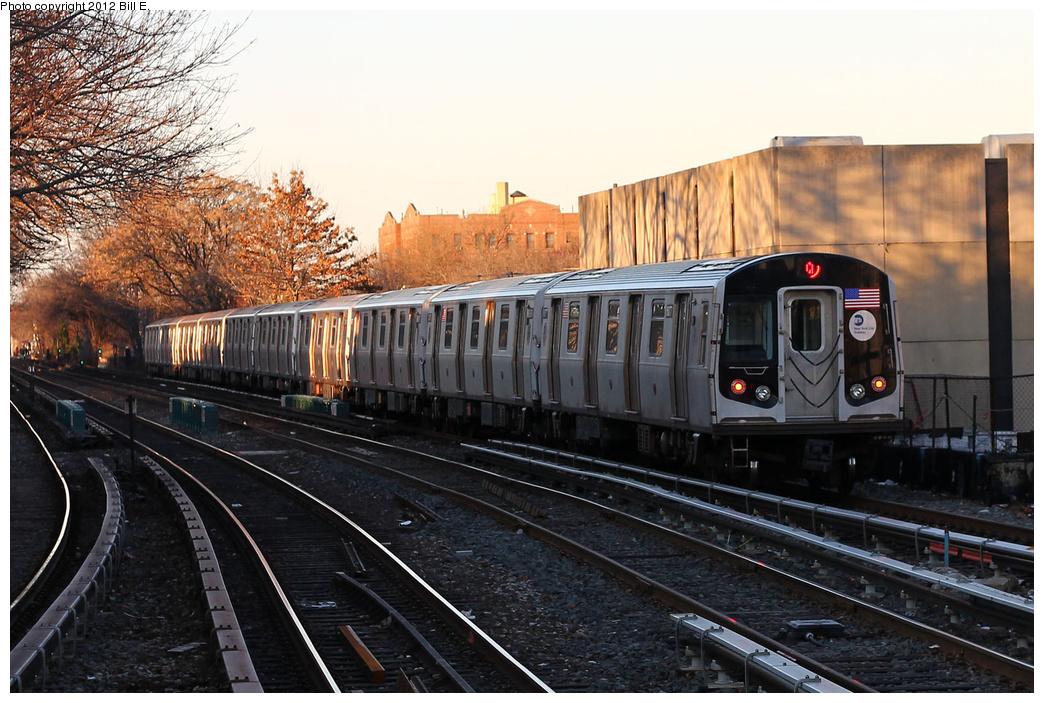 (376k, 1044x703)<br><b>Country:</b> United States<br><b>City:</b> New York<br><b>System:</b> New York City Transit<br><b>Line:</b> BMT Brighton Line<br><b>Location:</b> Kings Highway <br><b>Route:</b> Q<br><b>Car:</b> R-160B (Kawasaki, 2005-2008)  8877 <br><b>Photo by:</b> Bill E.<br><b>Date:</b> 12/24/2011<br><b>Viewed (this week/total):</b> 1 / 735