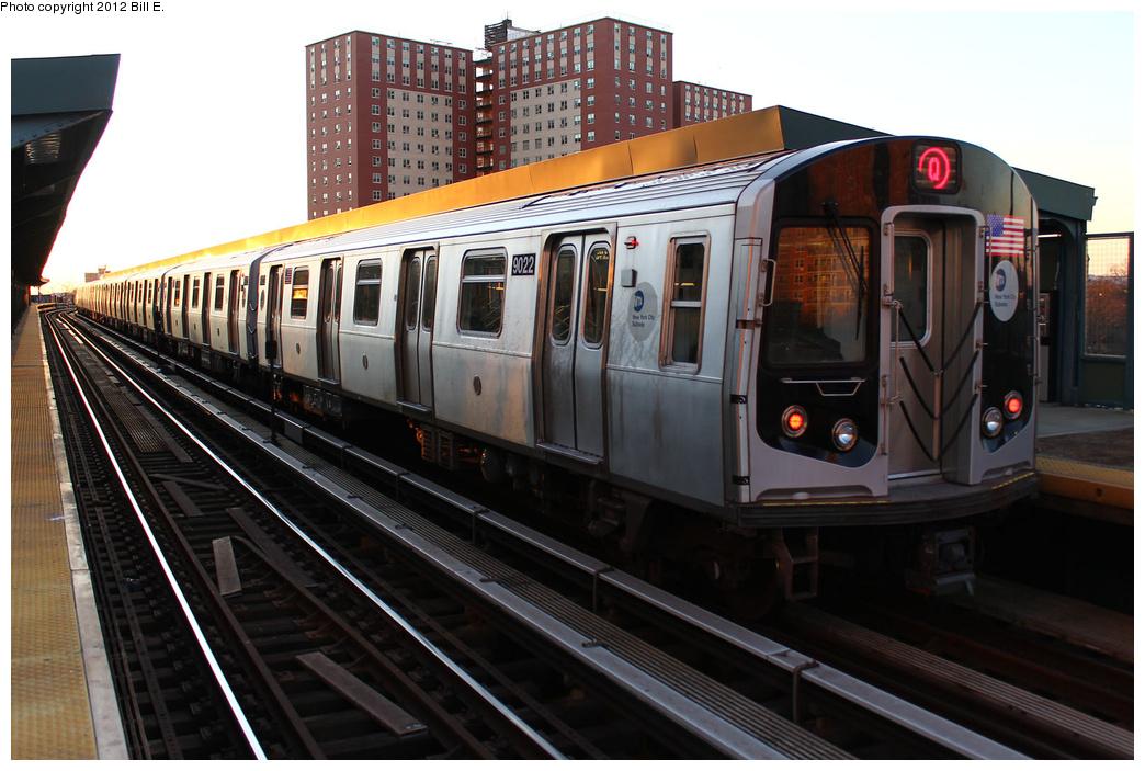 (341k, 1044x703)<br><b>Country:</b> United States<br><b>City:</b> New York<br><b>System:</b> New York City Transit<br><b>Line:</b> BMT Brighton Line<br><b>Location:</b> West 8th Street <br><b>Route:</b> Q<br><b>Car:</b> R-160B (Option 1) (Kawasaki, 2008-2009)  9022 <br><b>Photo by:</b> Bill E.<br><b>Date:</b> 12/24/2011<br><b>Viewed (this week/total):</b> 0 / 775