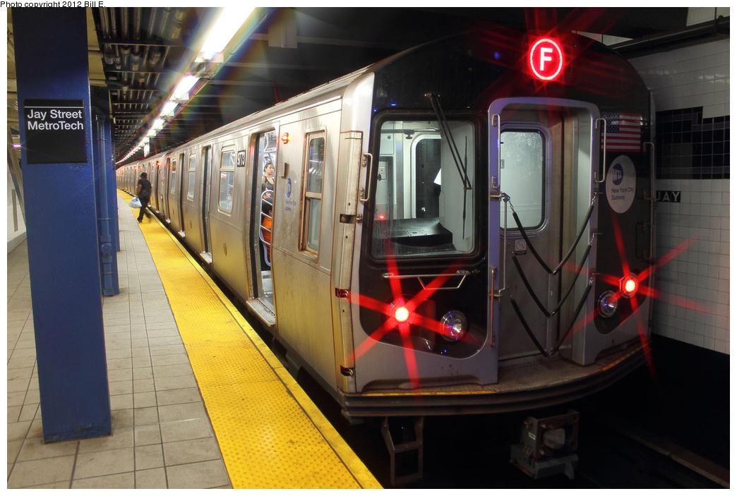 (326k, 1044x703)<br><b>Country:</b> United States<br><b>City:</b> New York<br><b>System:</b> New York City Transit<br><b>Line:</b> IND 8th Avenue Line<br><b>Location:</b> Jay St./Metrotech (Borough Hall) <br><b>Route:</b> F<br><b>Car:</b> R-160A (Option 2) (Alstom, 2009, 5-car sets)  9773 <br><b>Photo by:</b> Bill E.<br><b>Date:</b> 8/31/2011<br><b>Viewed (this week/total):</b> 0 / 978
