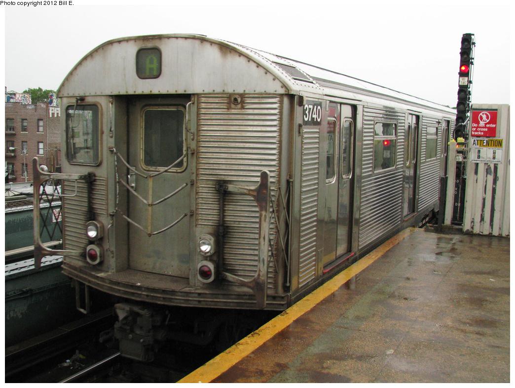 (392k, 1044x788)<br><b>Country:</b> United States<br><b>City:</b> New York<br><b>System:</b> New York City Transit<br><b>Line:</b> IND Fulton Street Line<br><b>Location:</b> Rockaway Boulevard <br><b>Route:</b> A<br><b>Car:</b> R-32 (Budd, 1964)  3740 <br><b>Photo by:</b> Bill E.<br><b>Date:</b> 7/25/2011<br><b>Viewed (this week/total):</b> 0 / 616
