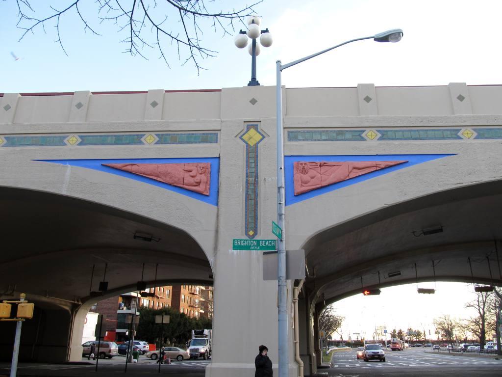 (98k, 1024x768)<br><b>Country:</b> United States<br><b>City:</b> New York<br><b>System:</b> New York City Transit<br><b>Line:</b> BMT Brighton Line<br><b>Location:</b> Ocean Parkway <br><b>Photo by:</b> Robbie Rosenfeld<br><b>Date:</b> 1/18/2012<br><b>Artwork:</b> <i>Coney Island Reliefs</i>, Deborah Masters (1996).<br><b>Viewed (this week/total):</b> 1 / 1507