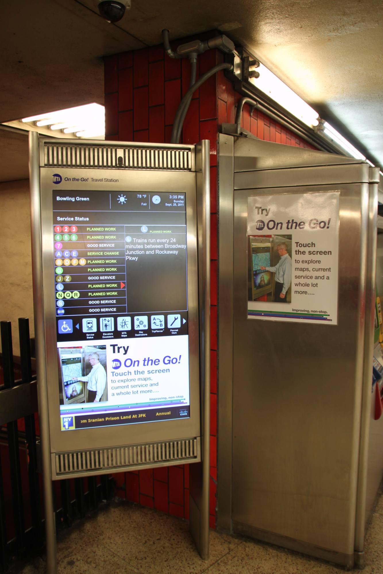 (243k, 1333x2000)<br><b>Country:</b> United States<br><b>City:</b> New York<br><b>System:</b> New York City Transit<br><b>Line:</b> IRT East Side Line<br><b>Location:</b> Bowling Green <br><b>Photo by:</b> Robbie Rosenfeld<br><b>Date:</b> 9/25/2011<br><b>Notes:</b> New On the Go kiosk.<br><b>Viewed (this week/total):</b> 1 / 947