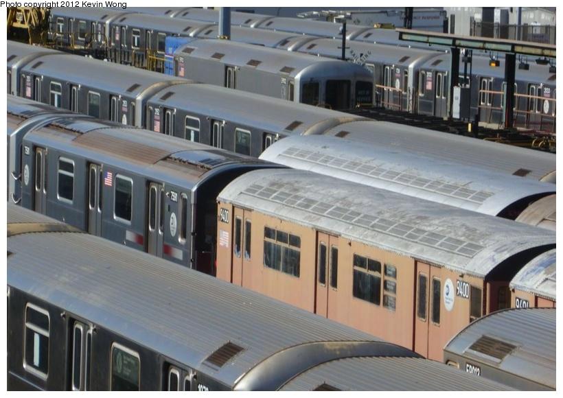(166k, 820x580)<br><b>Country:</b> United States<br><b>City:</b> New York<br><b>System:</b> New York City Transit<br><b>Location:</b> Corona Yard<br><b>Car:</b> R-36 World's Fair (St. Louis, 1963-64) 9400 <br><b>Photo by:</b> Kevin Wong<br><b>Date:</b> 1/31/2012<br><b>Viewed (this week/total):</b> 4 / 1613