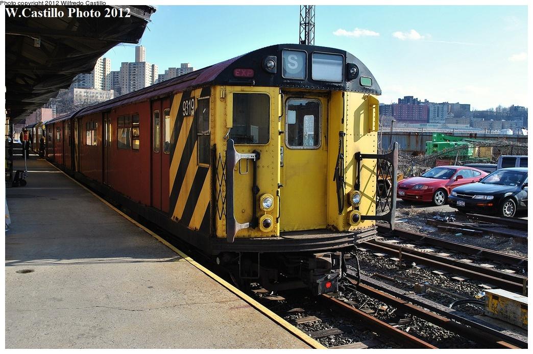 (385k, 1044x694)<br><b>Country:</b> United States<br><b>City:</b> New York<br><b>System:</b> New York City Transit<br><b>Location:</b> 207th Street Yard<br><b>Car:</b> R-33 World's Fair (St. Louis, 1963-64) 9319 <br><b>Photo by:</b> Wilfredo Castillo<br><b>Date:</b> 2/1/2012<br><b>Viewed (this week/total):</b> 0 / 883