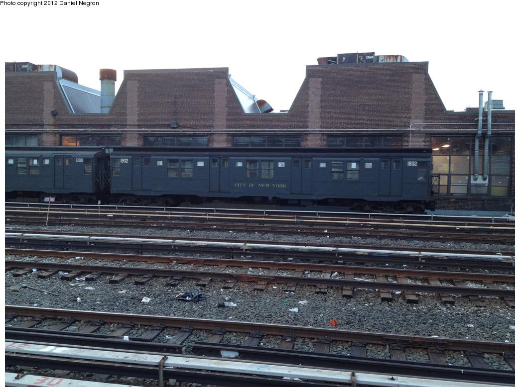 (319k, 1044x788)<br><b>Country:</b> United States<br><b>City:</b> New York<br><b>System:</b> New York City Transit<br><b>Location:</b> 207th Street Yard<br><b>Car:</b> R-9 (Pressed Steel, 1940)  1802 <br><b>Photo by:</b> Daniel Negron<br><b>Date:</b> 1/11/2012<br><b>Viewed (this week/total):</b> 1 / 897