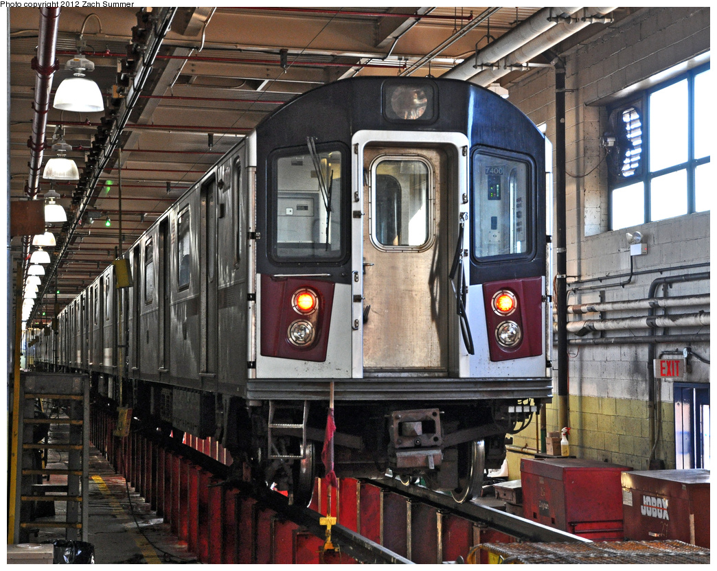 (512k, 1044x832)<br><b>Country:</b> United States<br><b>City:</b> New York<br><b>System:</b> New York City Transit<br><b>Location:</b> Westchester Yard<br><b>Car:</b> R-142A (Primary Order, Kawasaki, 1999-2002)  7400 <br><b>Photo by:</b> Zach Summer<br><b>Date:</b> 11/5/2011<br><b>Viewed (this week/total):</b> 1 / 854
