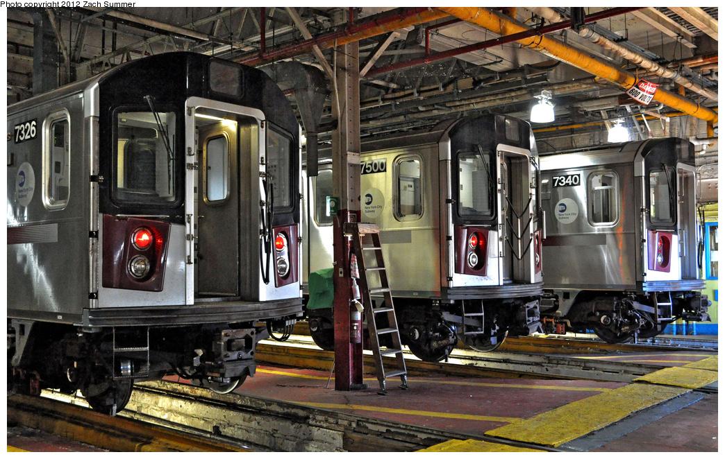 (451k, 1044x662)<br><b>Country:</b> United States<br><b>City:</b> New York<br><b>System:</b> New York City Transit<br><b>Location:</b> Westchester Yard<br><b>Car:</b> R-142A (Primary Order, Kawasaki, 1999-2002)  7326/7500/7340 <br><b>Photo by:</b> Zach Summer<br><b>Date:</b> 11/5/2011<br><b>Viewed (this week/total):</b> 5 / 921