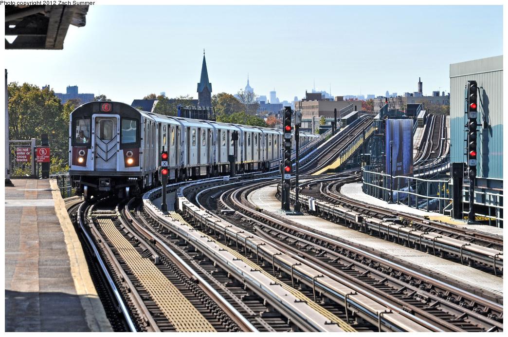 (444k, 1044x692)<br><b>Country:</b> United States<br><b>City:</b> New York<br><b>System:</b> New York City Transit<br><b>Line:</b> IRT Pelham Line<br><b>Location:</b> Middletown Road <br><b>Route:</b> 6<br><b>Car:</b> R-142A (Primary Order, Kawasaki, 1999-2002)  7415 <br><b>Photo by:</b> Zach Summer<br><b>Date:</b> 11/5/2011<br><b>Viewed (this week/total):</b> 0 / 1057