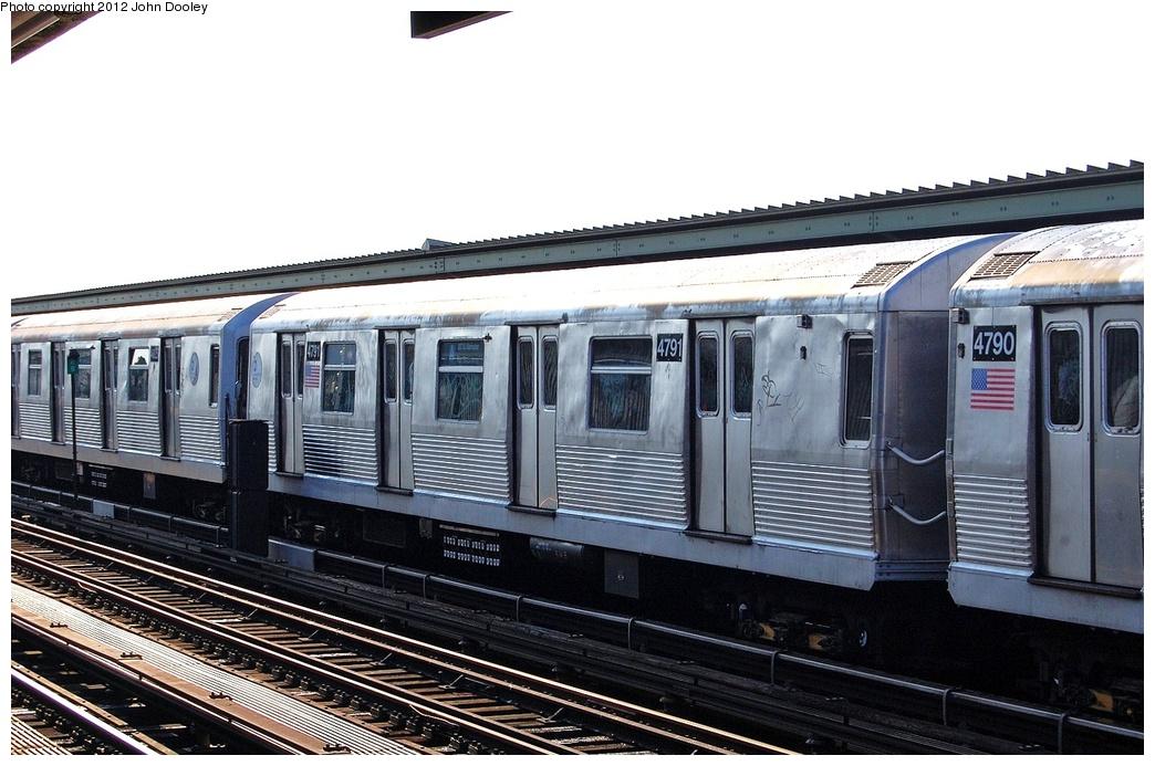 (306k, 1044x693)<br><b>Country:</b> United States<br><b>City:</b> New York<br><b>System:</b> New York City Transit<br><b>Line:</b> IND Fulton Street Line<br><b>Location:</b> 80th Street/Hudson Street <br><b>Route:</b> A<br><b>Car:</b> R-42 (St. Louis, 1969-1970)  4791 <br><b>Photo by:</b> John Dooley<br><b>Date:</b> 8/20/2011<br><b>Viewed (this week/total):</b> 0 / 809
