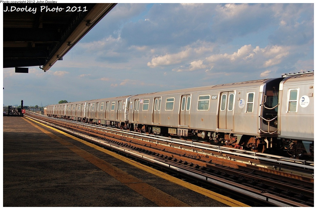(341k, 1044x692)<br><b>Country:</b> United States<br><b>City:</b> New York<br><b>System:</b> New York City Transit<br><b>Car:</b> R-160A (Option 1) (Alstom, 2008-2009, 5 car sets)  9507 <br><b>Photo by:</b> John Dooley<br><b>Date:</b> 7/26/2011<br><b>Viewed (this week/total):</b> 0 / 884