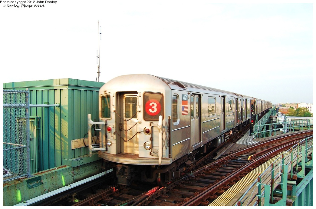 (300k, 1044x690)<br><b>Country:</b> United States<br><b>City:</b> New York<br><b>System:</b> New York City Transit<br><b>Line:</b> IRT Brooklyn Line<br><b>Location:</b> Junius Street <br><b>Route:</b> 3<br><b>Car:</b> R-62 (Kawasaki, 1983-1985)  1421 <br><b>Photo by:</b> John Dooley<br><b>Date:</b> 6/28/2011<br><b>Viewed (this week/total):</b> 6 / 1153