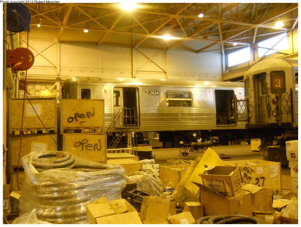 (422k, 1044x788)<br><b>Country:</b> United States<br><b>City:</b> New York<br><b>System:</b> New York City Transit<br><b>Location:</b> Coney Island Shop/Overhaul & Repair Shop<br><b>Car:</b> R-68 (Westinghouse-Amrail, 1986-1988)  2924 <br><b>Photo by:</b> Robert Mencher<br><b>Date:</b> 2/28/2011<br><b>Viewed (this week/total):</b> 0 / 887
