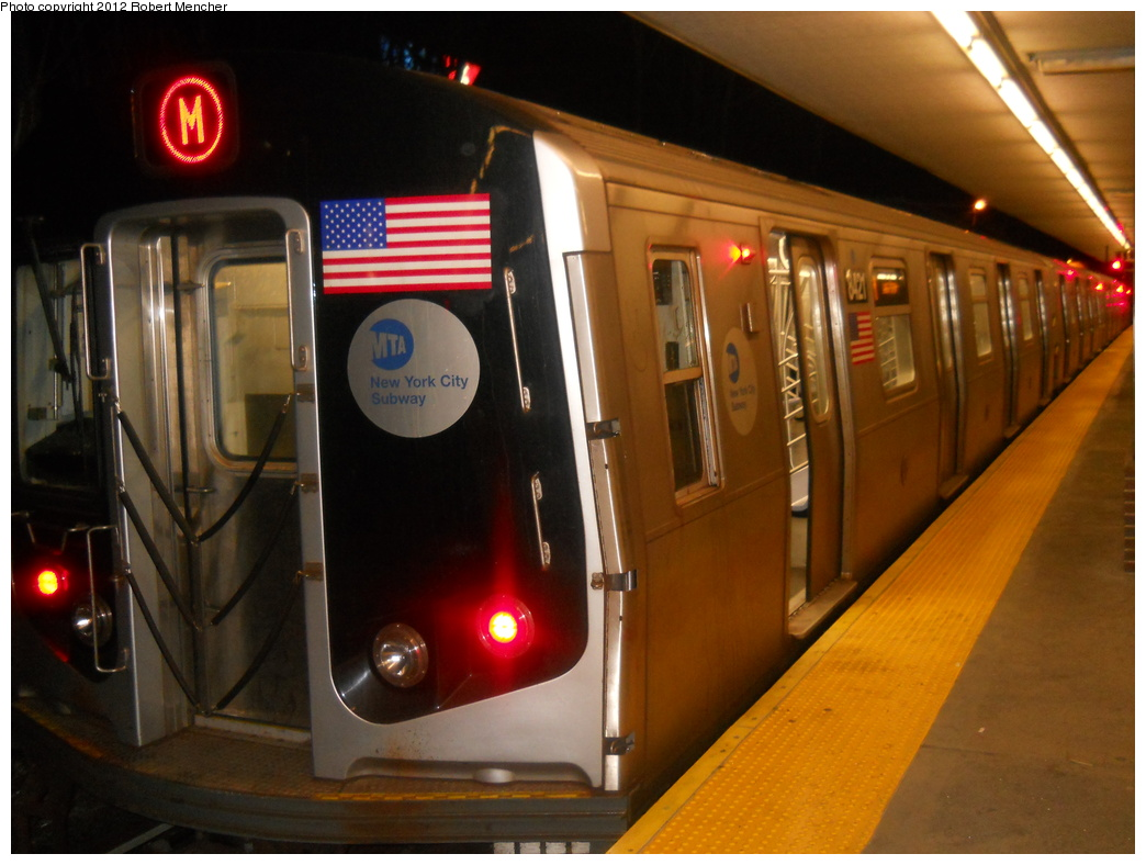 (326k, 1044x788)<br><b>Country:</b> United States<br><b>City:</b> New York<br><b>System:</b> New York City Transit<br><b>Line:</b> BMT Myrtle Avenue Line<br><b>Location:</b> Metropolitan Avenue <br><b>Route:</b> M<br><b>Car:</b> R-160A-1 (Alstom, 2005-2008, 4 car sets)  8421 <br><b>Photo by:</b> Robert Mencher<br><b>Date:</b> 3/26/2011<br><b>Viewed (this week/total):</b> 1 / 1019