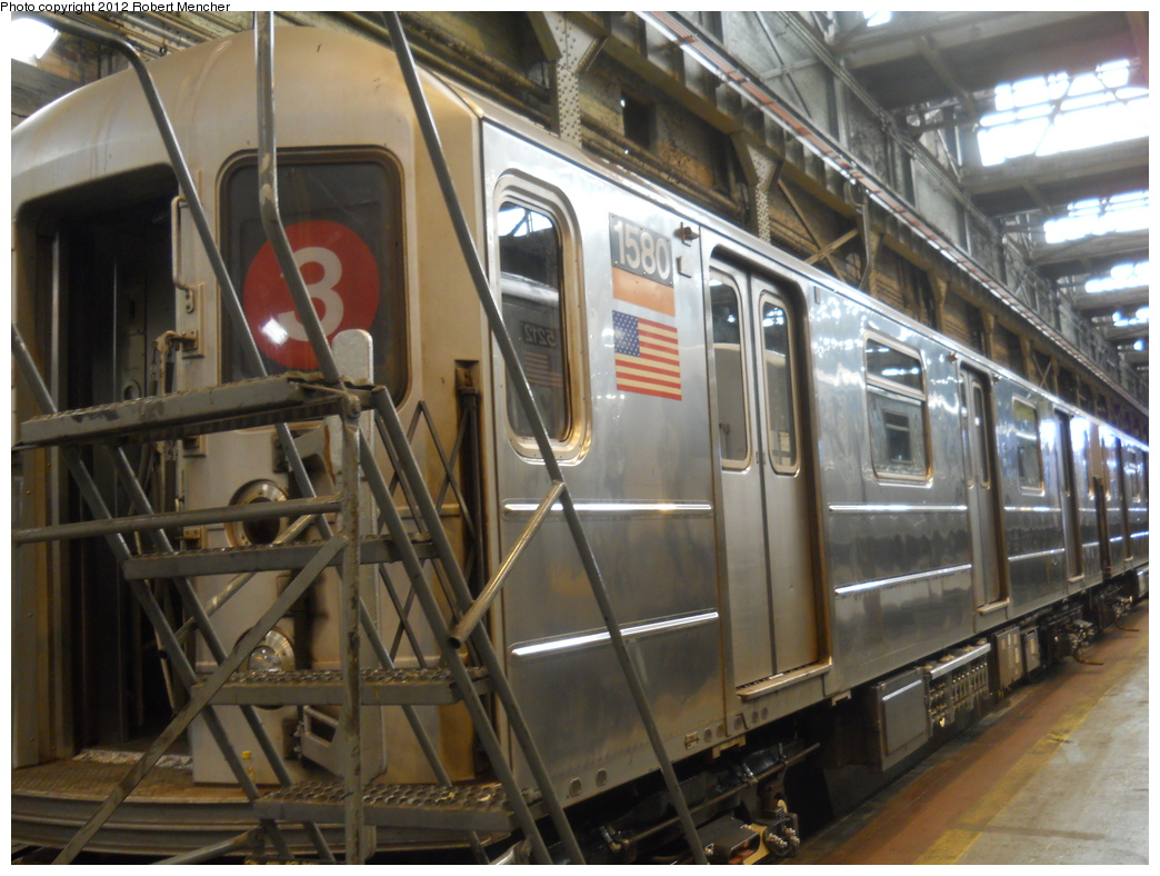 (369k, 1044x788)<br><b>Country:</b> United States<br><b>City:</b> New York<br><b>System:</b> New York City Transit<br><b>Location:</b> 207th Street Shop<br><b>Car:</b> R-62 (Kawasaki, 1983-1985)  1580 <br><b>Photo by:</b> Robert Mencher<br><b>Date:</b> 3/27/2011<br><b>Viewed (this week/total):</b> 0 / 559