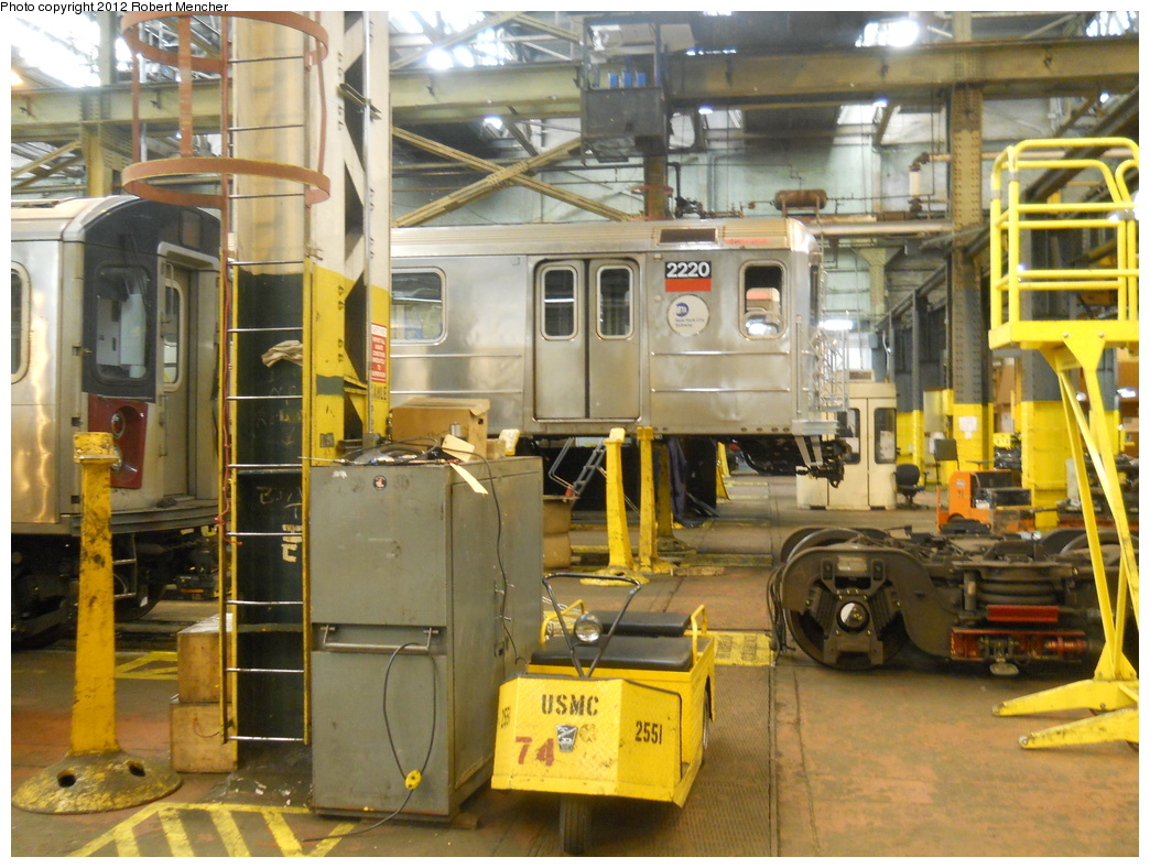 (414k, 1044x788)<br><b>Country:</b> United States<br><b>City:</b> New York<br><b>System:</b> New York City Transit<br><b>Location:</b> 207th Street Shop<br><b>Car:</b> R-62A (Bombardier, 1984-1987)  2220 <br><b>Photo by:</b> Robert Mencher<br><b>Date:</b> 3/27/2011<br><b>Viewed (this week/total):</b> 1 / 459